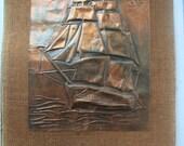 Vintage Tin Copper Colored Sailing Portrait