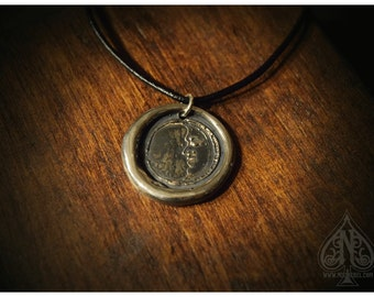 Silver Moon Wax seal pendant