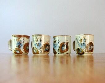 Four Vintage Ken Edwards Cups / Mugs Handmade Bohemian Birds / Fruit