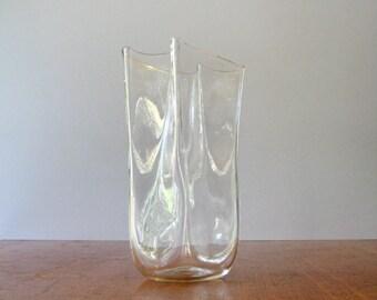 Vintage Blenko Clear Glass Paper Bag Vase