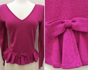 Vintage 1980s Ungaro Parallele V-Neck Sweater with Bow at Waist