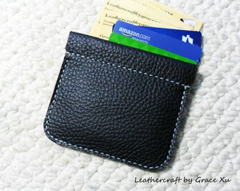 100% hand stitched handmade black cowhide leather flex frame pouch for coin, cash, credit cards, business cards, etc.