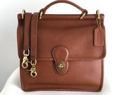 Vintage Coach British Tan Leather Willis 9927, Made in the USA