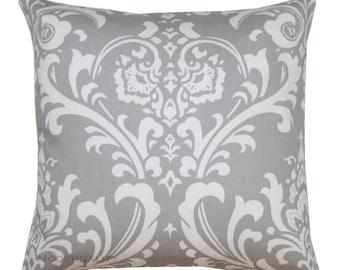 Damask Throw Pillow, Ozborne Storm Grey Pillow Cover, Zippered Pillow, Gray Pillow Case, Accent Pillow, Cushion Cover, Damask Decor, Wedding