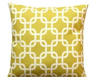 SALE Decorative Accent Pillows- Premier Prints Summerland Citrine Gotcha Cushion Cover- Choose Size- Zippered Pillow- Chainlink Pillow