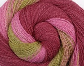 RESERVED for Nancy R. Luxury Gradient Handspun Yarn - SPRING BLOSSOMS - Hand dyed Organic Polwarth / Mulberry Silk, Lace weight, 854 yards