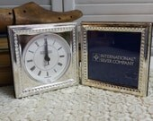 Silverplated Clock Photo Frame New Vintage