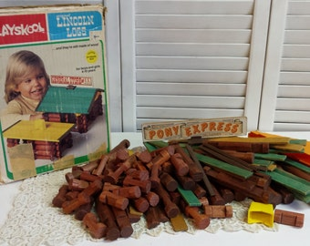 Vintage Lincoln Logs Building Toys Wood Toys Creative Play Toys