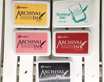 Ranger Archival Ink in Vermillion, Saffron, Rose Madder, Acid Free, Permanent, Waterproof, for cards, planners, scrapbooks, journal