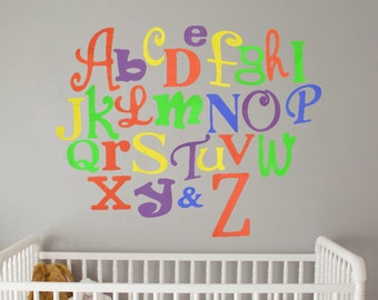 Hand painted Alphabet Set, Mixed Fonts and Sizes, Custom Colors, Nursery Decoration, Ready to hang, ABC wall