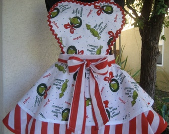 The Grinch Christmas Apron Retro Pin Up