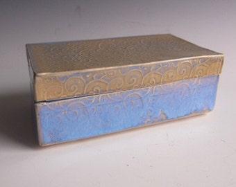 Handmade ceramic keepsake box- blue