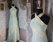 Vintage 1960's 70's Jill Richards Light Green and Cream Lace Dress XS
