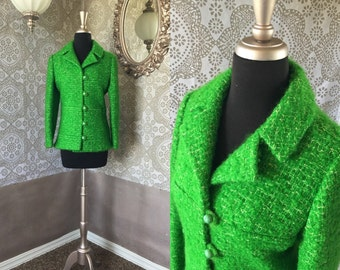 Women's Vintage 1960's Neiman Marcus Lime Green Cropped Boulce Jacket S/M