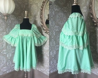 Vintage 1970's Green Bohemian Tent Blouse Maternity Shirt Large