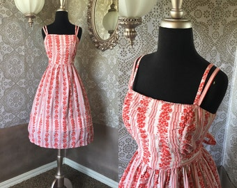 Vintage 1950's Red and White Floral Stripe Cotton Sun Dress S/M