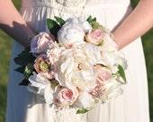 Wedding Flowers, Wedding Bouquet, Keepsake Bouquet, Bridal Bouquet, Blush Pink Ranunculus, Rose and Ivory Peony silk flower bouquet.