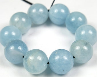 Quality Natural Aquamarine Round Bead - 8.5mm - 10 Pieces - B3962