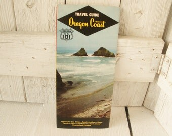 Vintage Oregon Coast travel guide map brochure vacation sightseeing points of interest 1950s- free shipping US