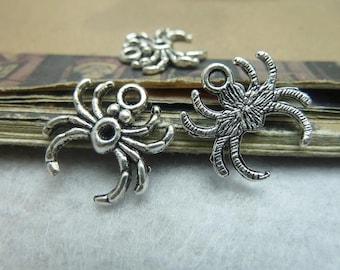 50pcs 17x17mm The Spider Silver Color Retro Pendant Charm For necklace Jewelry /Pendants C6723