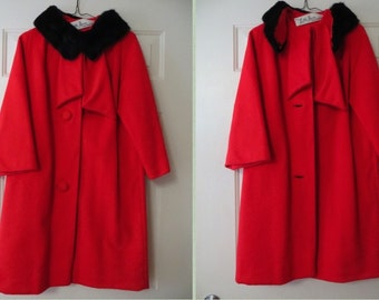 Red Lilli Ann Coat with Black Fur Collar Wool Coat Bracelet Sleeve Classic Wool Coat Vintage Womens Coat