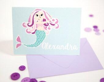 Mermaid stationery set, mermaid note cards, mermaid stationary, stationery for kids