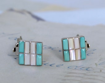 Zuni Clip On Turquoise and Mother of Pearl Earrings