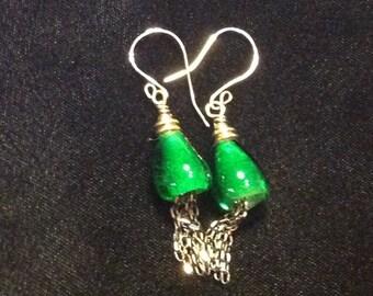 Hand Blown Green Glass Earrings