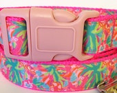 Lulu Lilly Pulitzer Inspired Dog Collar / Lilly Pulitzer Inspired Pet Leash in Lulu