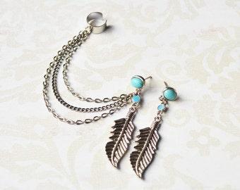 Blue Leaf Triple Chain Ear Cuff Earring (Pair)