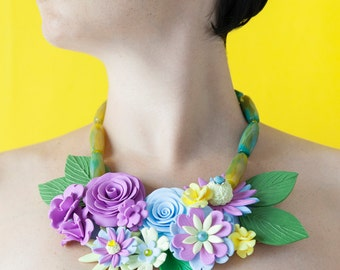 Colorful Statement Necklace, Large Flower Necklace, Hand Sculpted Art Jewelry, Contemporary One of a Kind Necklace