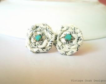 Ch.5 Vintage Paper Earrings,Paper Earrings, Vintage Paper Earrings,Vintage Paper Jewelry,Book Pages Earrings,Eco Friendly Studs, Book Theme