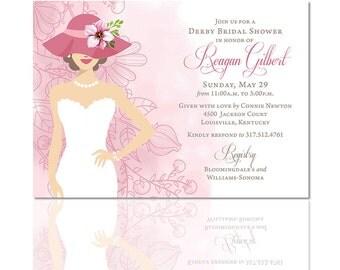 Bridal Shower Invitations, Kentucky Derby Invitations, Wedding, Watercolor, Peach, Coral, Custom, Printable