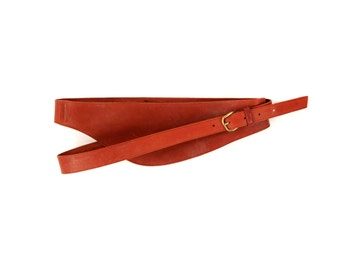 Vintage 1980's CALECHE for Hermes Brown Red Leather Double Wrap High Waist Belt