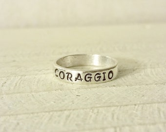 Custom Sterling Silver Band Ring - 4mm Thick Personalized Ring - Promise Ring - Sterling Silver 925 - Inspirational - Sterling Stamped Ring