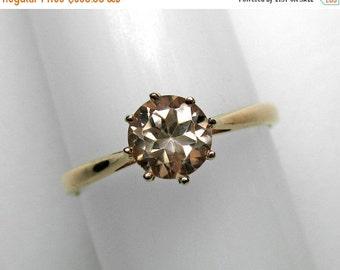 Pink Zircon Ring in Rose Gold, 6 mm