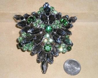 Vintage Juliana Blue Kite Stone Brooch With Green Rhinestones Layered 1950's Jewelry 2194