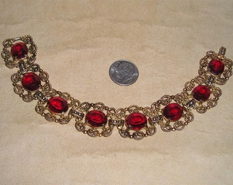 Vintage Filigree Bracelet With Red Glass Stones 1960's Jewelry A54