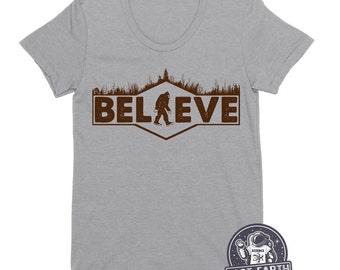 Womens Bigfoot T Shirt Funny Sasquatch T Shirt Believe T Shirt Funny Tee Shirt Vintage Tees Camping Tees Ladies Tees Camp Shirt Humor Gifts
