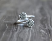 Crushed Crystal Druzy Sterling Silver Wrap Around Ring