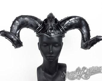 Ram Horn Headdress with Skull