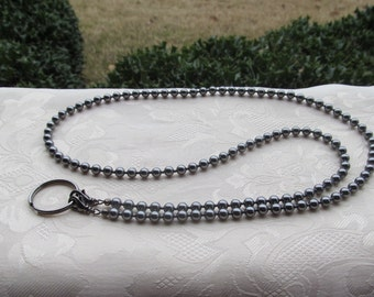 Dark Gray Pearl ID Badge Lanyard Swarovski Pearl Beaded Lanyard Necklace ID Badge Holder