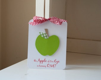 Apple Themed First Birthday Party Invitations Baby Shower Red Gingham Green Polka Dot Leaf