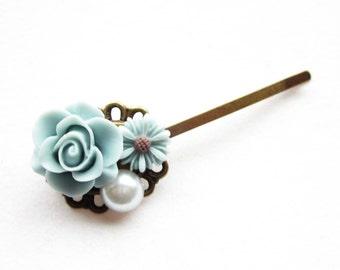 Haarklammer,haarspange,hair pin,hair clip, hochzeit,wedding,Blumen,Vintage-Stil,blaugrau