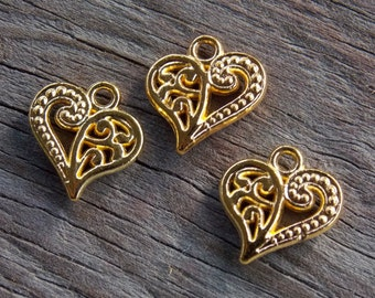 10 Gold Plated Filigree Heart Charms 14mm