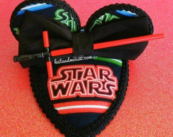 Crossguard Lightsaber Fascinator In Black and Navy With Round Ears - Original Design By Hat and Mouse