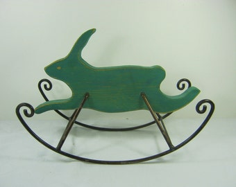 Vintage BUNNY ROCKING HORSE Small Wood Toy Display