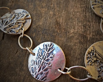 Silver Botanical Bracelet, Real Leaf Jewelry, Stacking Bracelet Boho Jewelry with Leaf Impression, Gift Jewelry for Her
