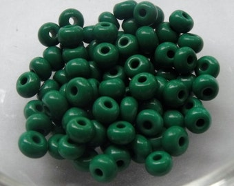 6/0 Opaque Medium Dark Green Seed Beads, 4mm, Czech, Preciosa, 20 grams (270 - 300 Beads) CLEARANCE SALE!!