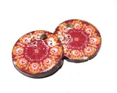 Unusual Ceramic Earring Charms Pair Rustic Stoneware Pottery Floral Folk Art Red